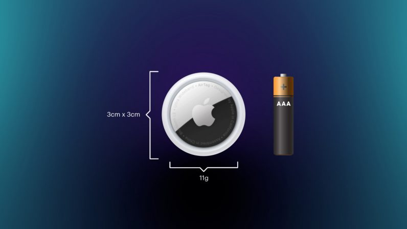 Apple AirTag size and weight, compared with a AAA battery