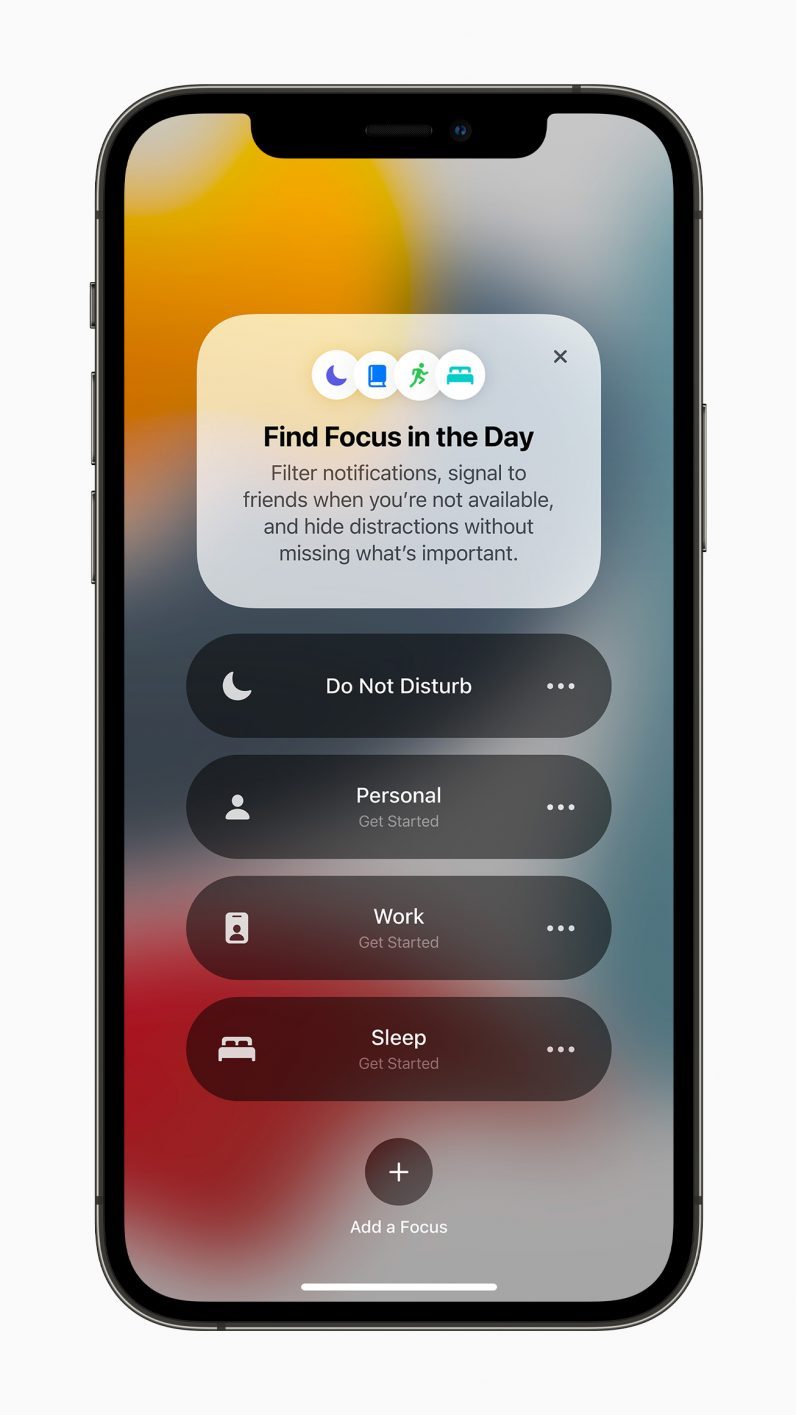 Apple iPhone running iOS 15 showing Focus, the future of Do Not Disturb