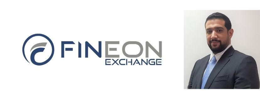 Fineon Exchange logo and founder