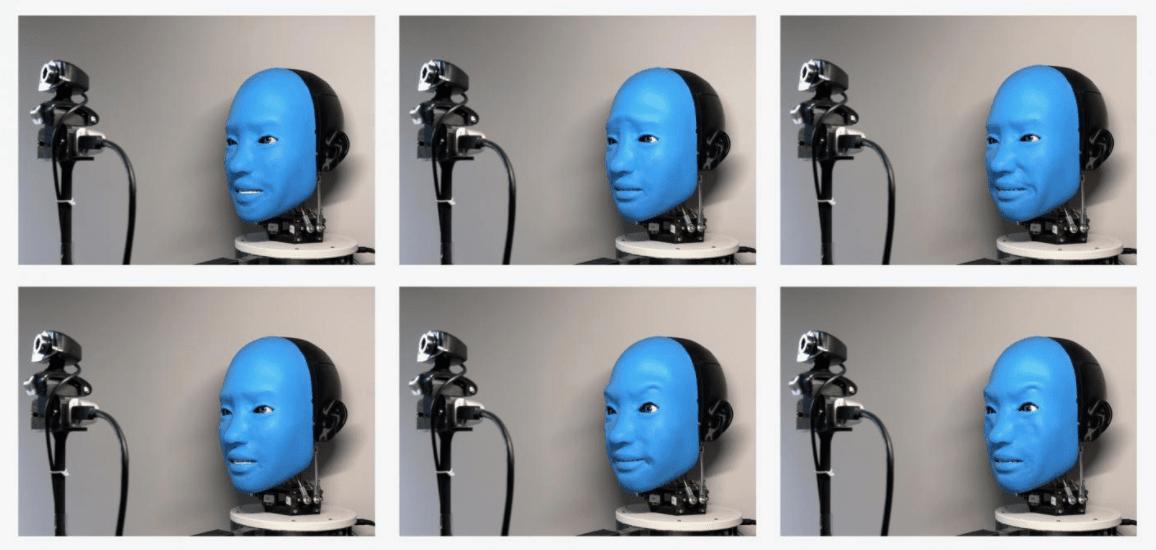 El robot refleja las expresiones faciales humanas capturadas por una cámara.