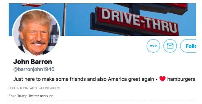 Screenshot of parody Twitter page for 'John Barron'