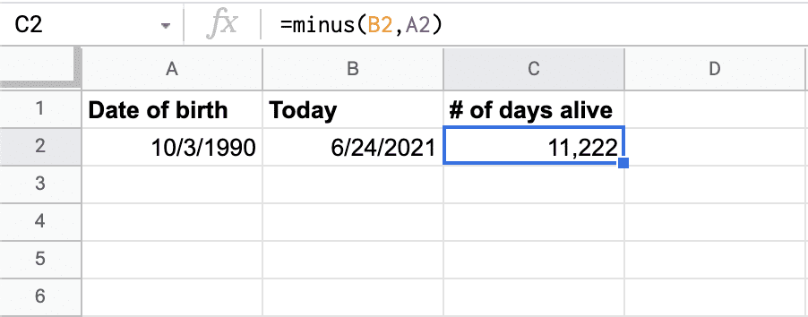 Google Sheets calculation for number of days between two dates