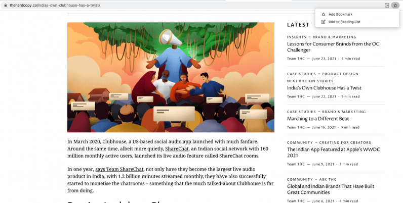 Add an article to Chrome's reading list