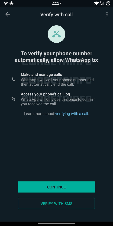 WA flash calls for account verification