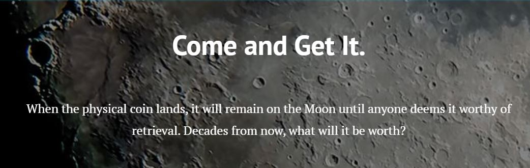 A moon surface background with text superimposed, quote below