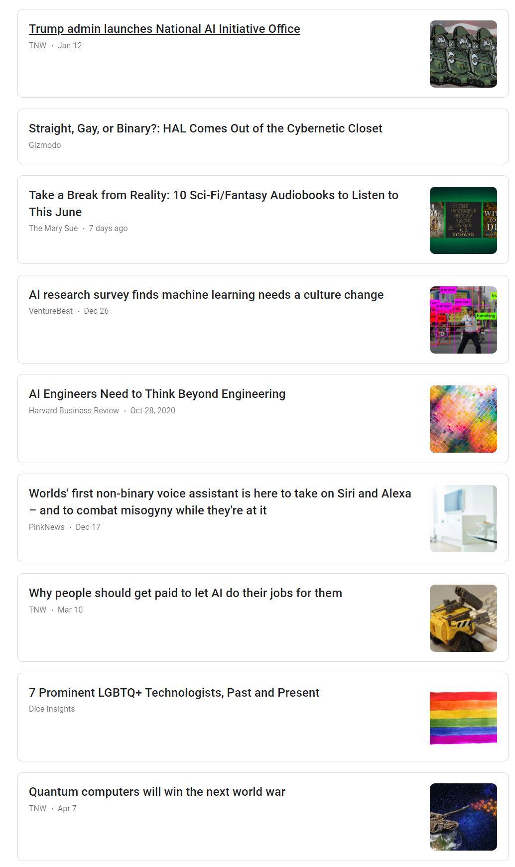 une capture d'écran des résultats de GoogleActualités