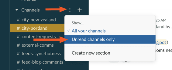 Slack unread channels only