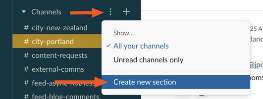 Slack create new section