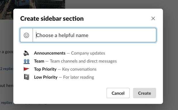 slack choose sidebar section name