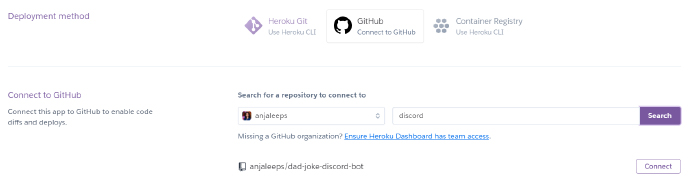 Connect Heroku app with git repository