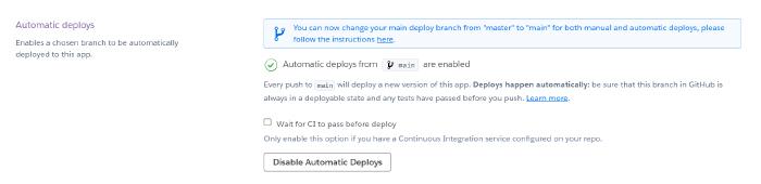 Set up automatic deployments on Heroku