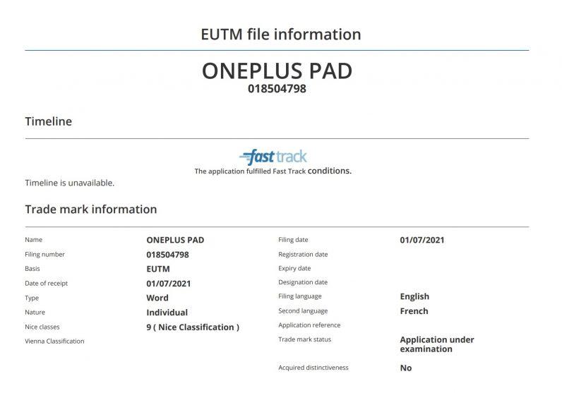 OnePlus Pad filing