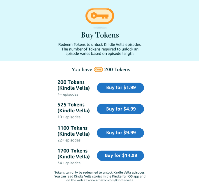 The Kindle Vella Library shows the tokens you need to buy an episode.