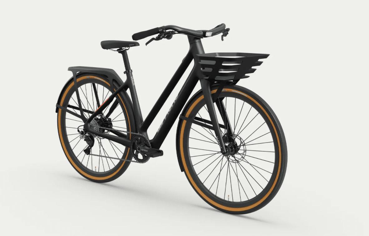 Bicicleta eléctrica holandesa LeMond con cesto delantero y portaequipajes trasero