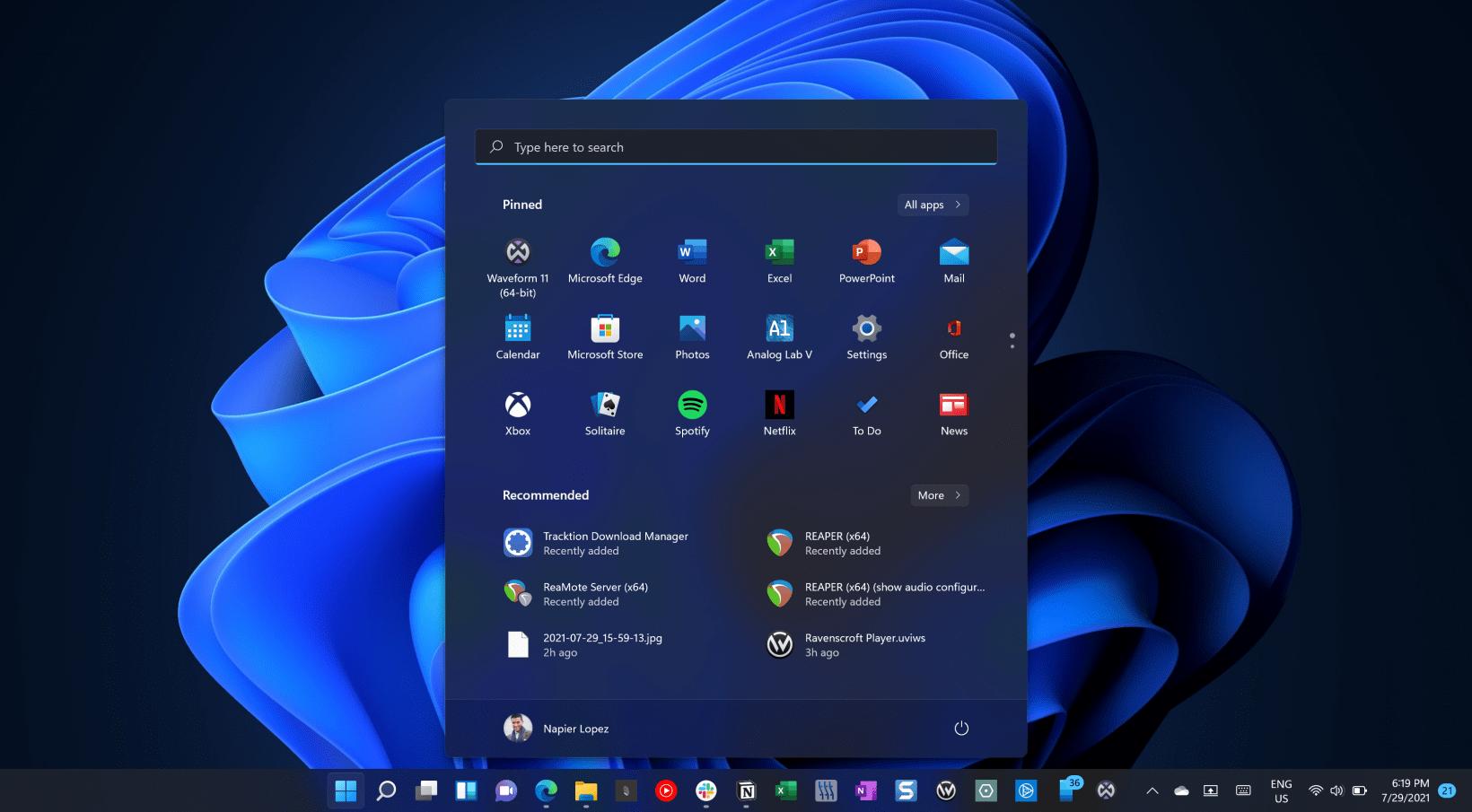 Windows 11 home page
