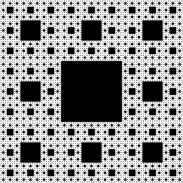 Ayrıca Sierpiński halısı adı verilen kare bir fraktal üzerinde deneyler yaptık.  Johannes Russell / Wikimedia