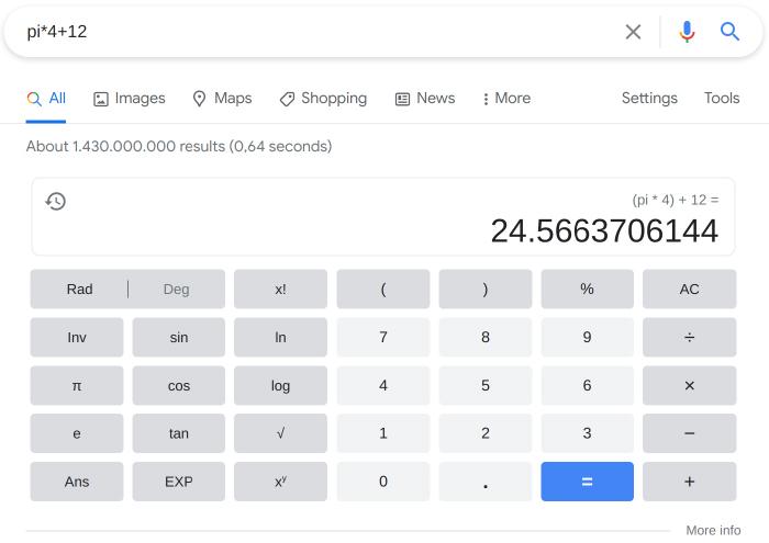 Using google as an advanced calculator