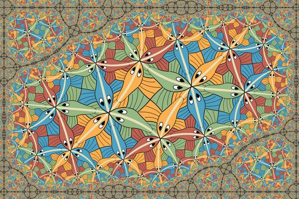 Bu sonek, Escher's Circle Limit III fraktalını tekrarlar.  Vladimir-Bolatov / Deviantart, CC BY-NC-SA