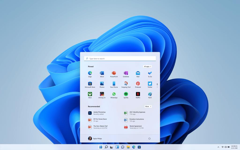 Windows 11's new design and Start Menu