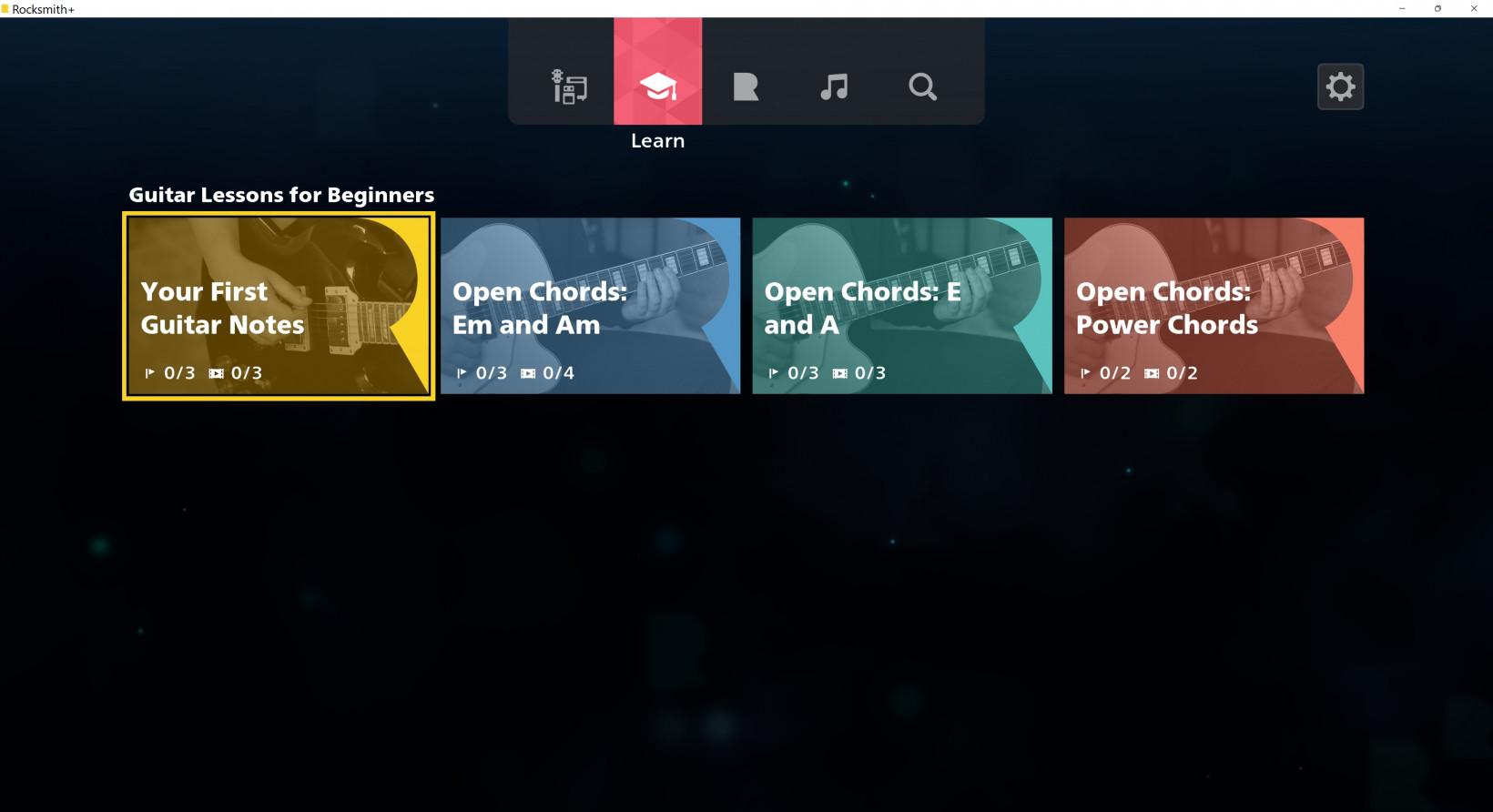A screen capture of a Rocksmith menu.