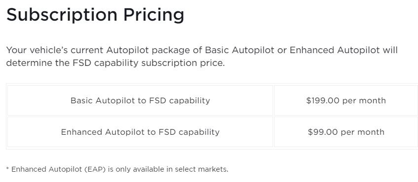 Tesla, full self-driving package.