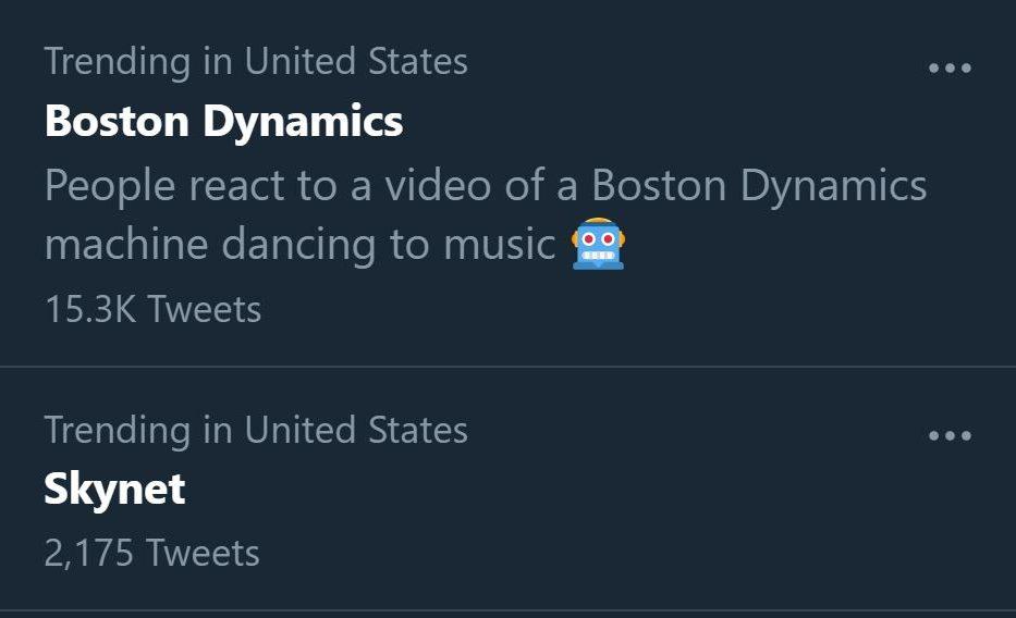 Screenshot of Twitter trending topics