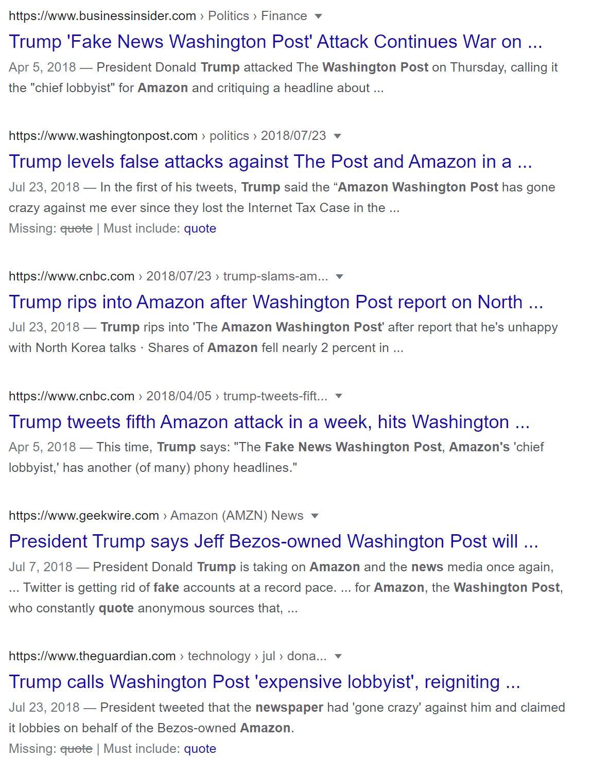 Una captura de pantalla de noticias sobre los ataques de Trump a Amazon y al Washington Post.