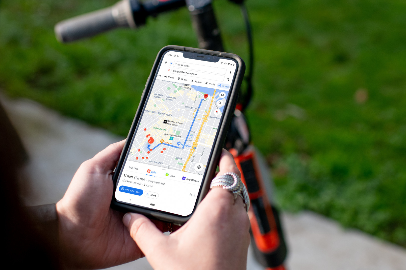 Escooters and bikes can be found on Google Maps