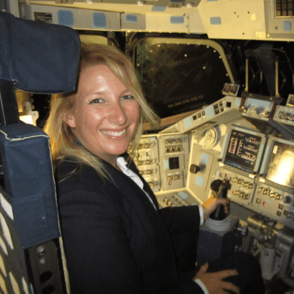 Me sitting in the captain's seat of the NASA's Space Shuttle Endeavour. Author provided