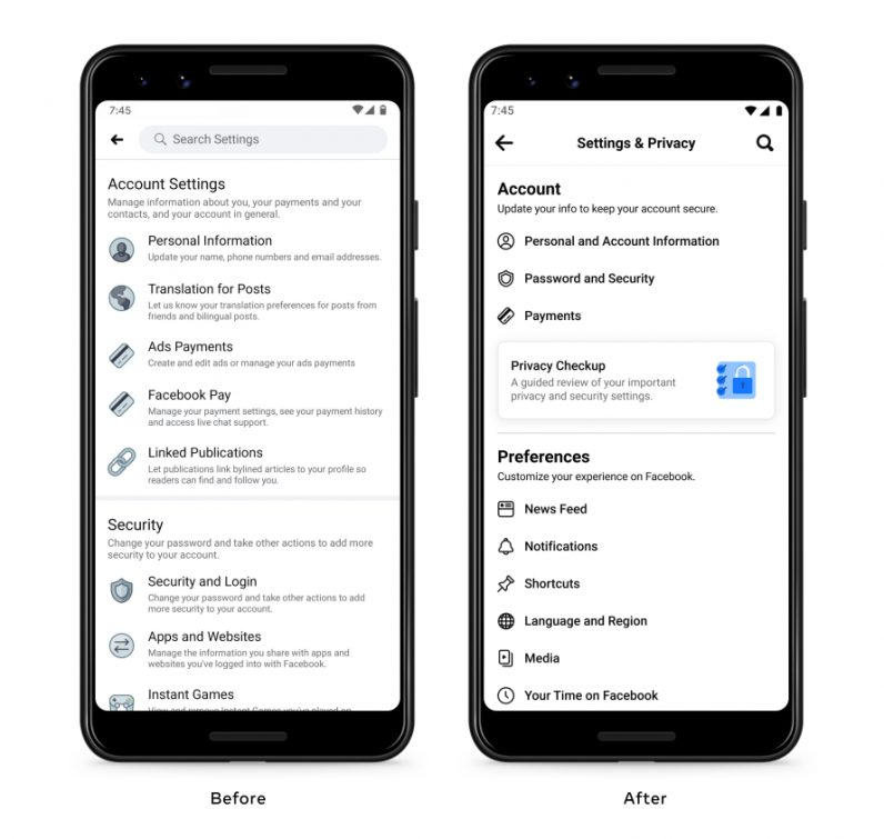 A comparison of Facebook's old and new settings page