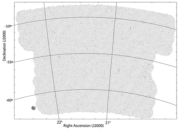 The image produced by the EMU Pilot Survey. The full moon is shown for scale in the bottom left. The dancing ghosts are barely a pin-prick on this image.