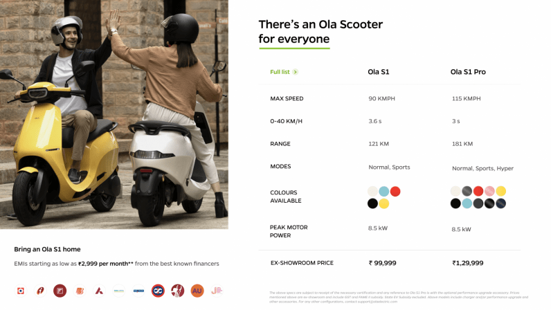 Comparison between Ola S1 and S1 Pro scooters