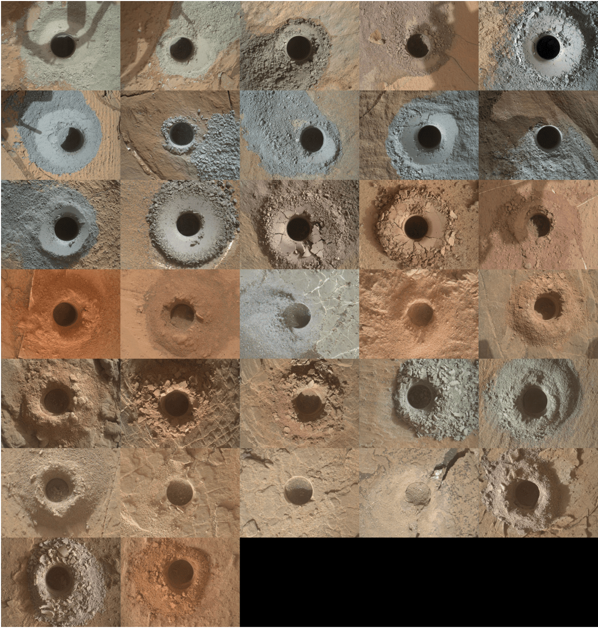 NASA's Curiosity Mars rover has used the drill on its robotic arm to take 32 rock samples to date.