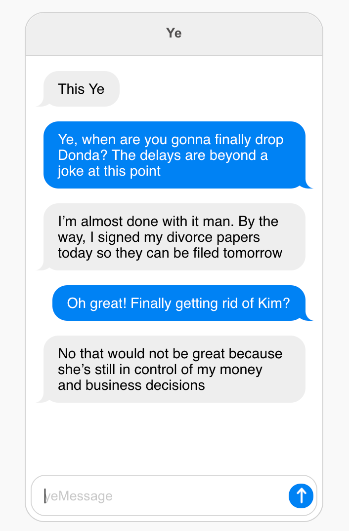 Talk To Kanye is an AI bot.