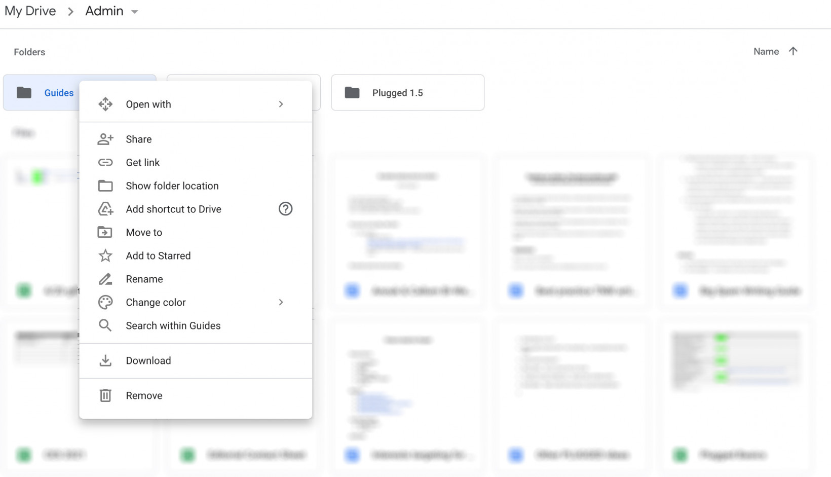 right click showing you can't copy folders in Google Drive