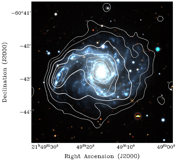 The Galaxy NGC 7125 with EMU radio data (contours) overlaid on an optical image (coloured_ from the Dark Energy Survey