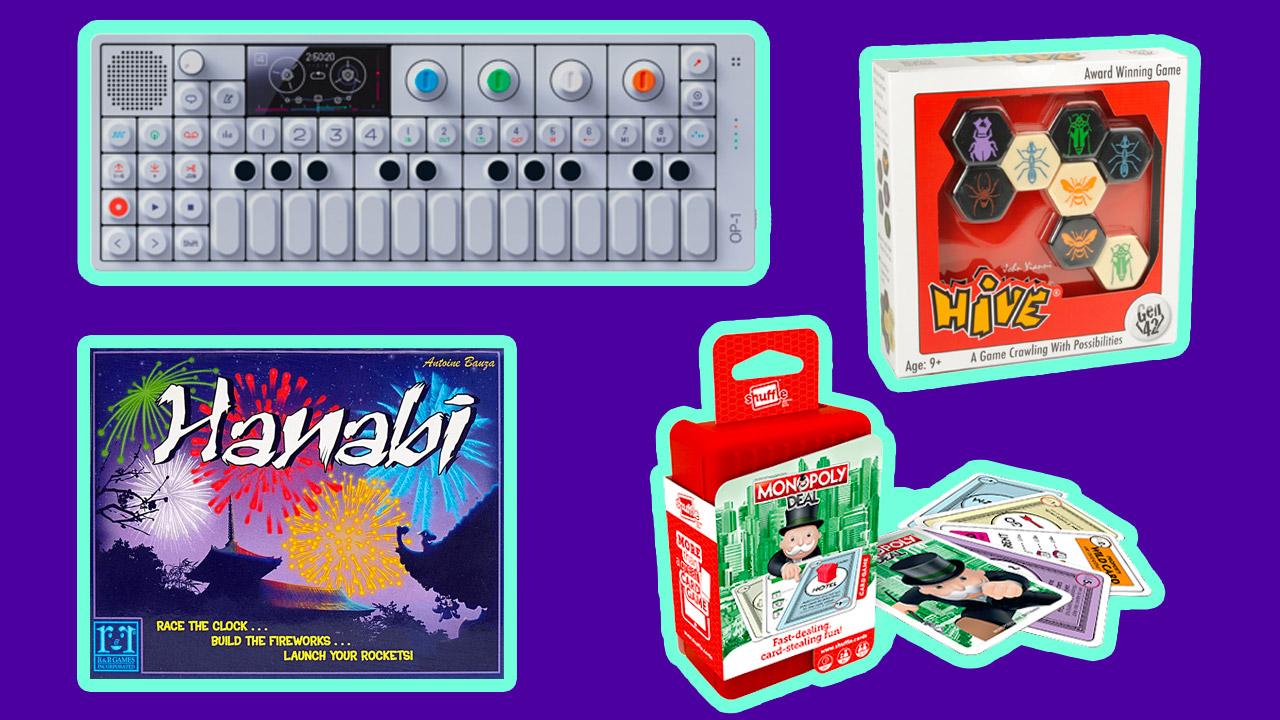 teenage engineering op-1 monopoly deal hive hanabi board games