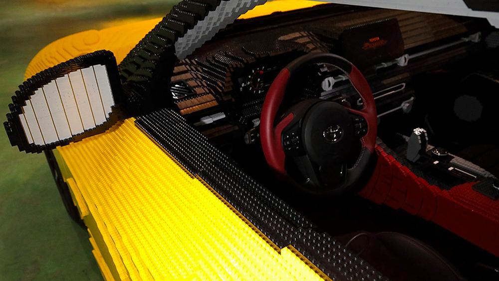 The interior of the Toyota LEGO Supra