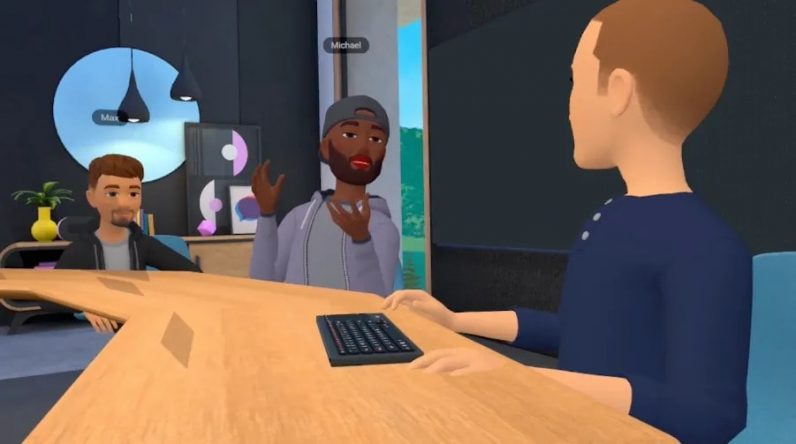 An image of a 'workroom' in the metaverse