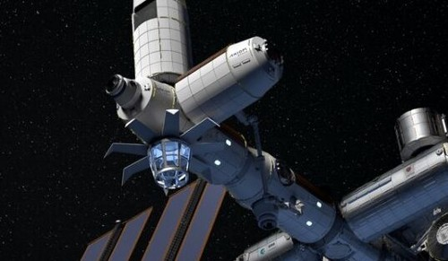 An artist concept of the Axiom station deployed on the International Space Station.