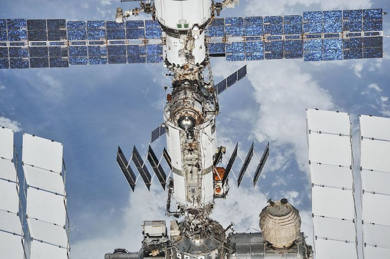 The ISS photographed from a Soyuz spacecraft