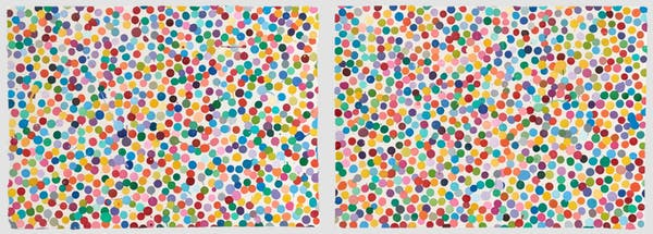 These two Damien Hirst 'Currency' works sold within a hour of each other. '5083. Yeah, come on for a ride', left, sold for US$45,966. '6307. We shall bring our own children', right, sold for US$26,285