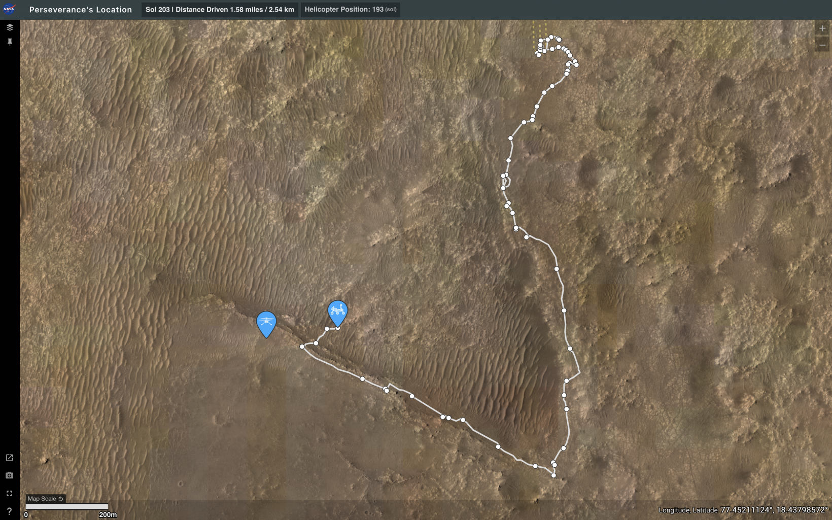 """You can track the Perseverance rover's daily location using """"Where is Perseverance?"""""""