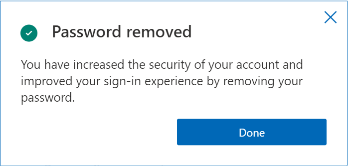 Password removed prompt on Microsoft's account