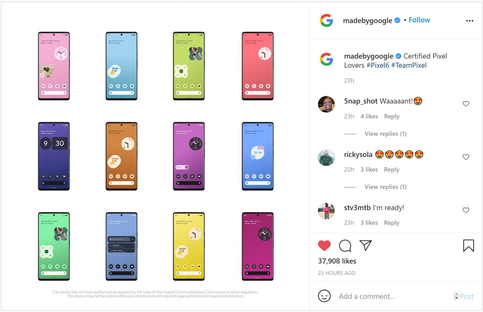 Pixel 6 ad on Instagrma