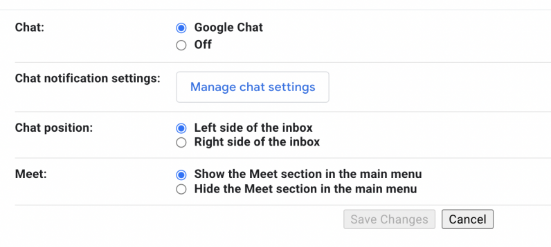 Turning off Chat and Meet options on Gmail desktop