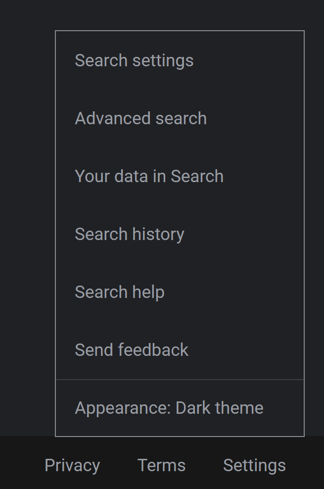 Google Dark mode setting