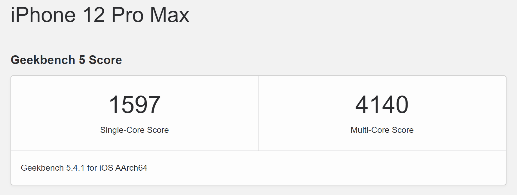 iPhone 12 Pro Max Geekbench 5