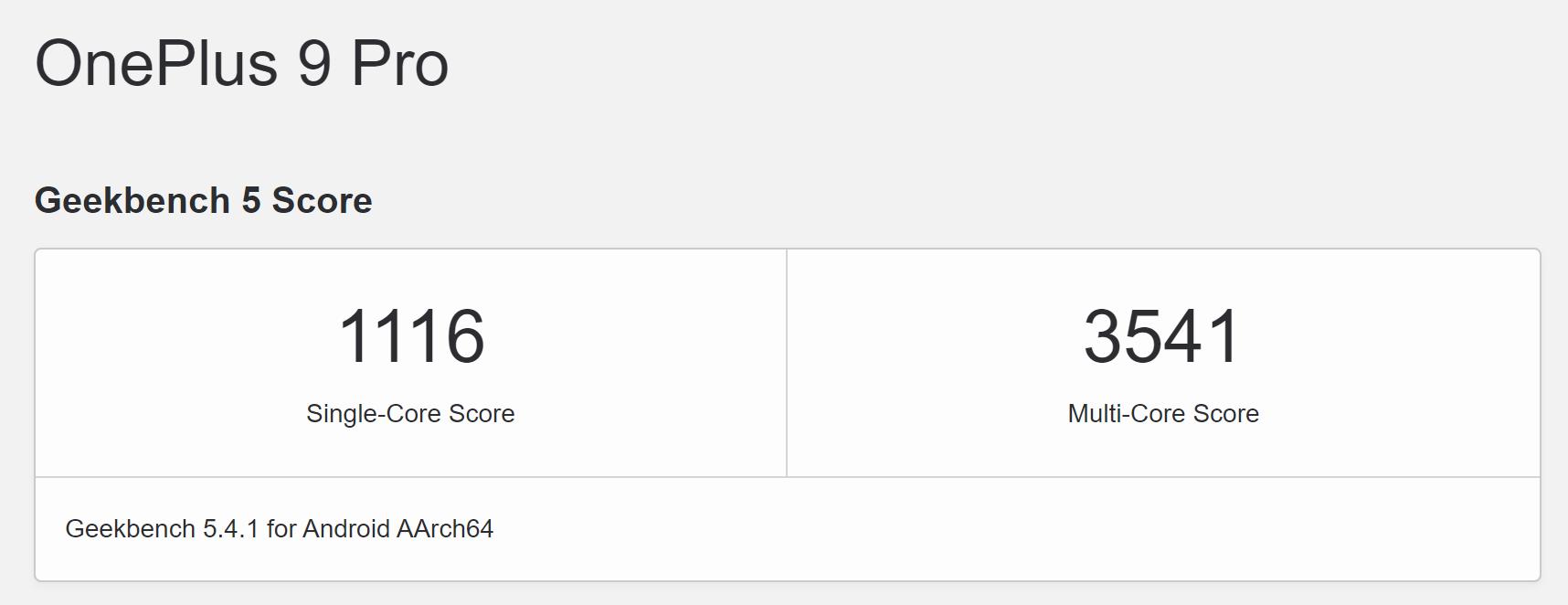 OnePlus 9 Pro Geekbench 5