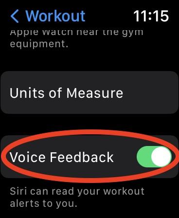 turn off voice feedback Apple Watch watchOS 8